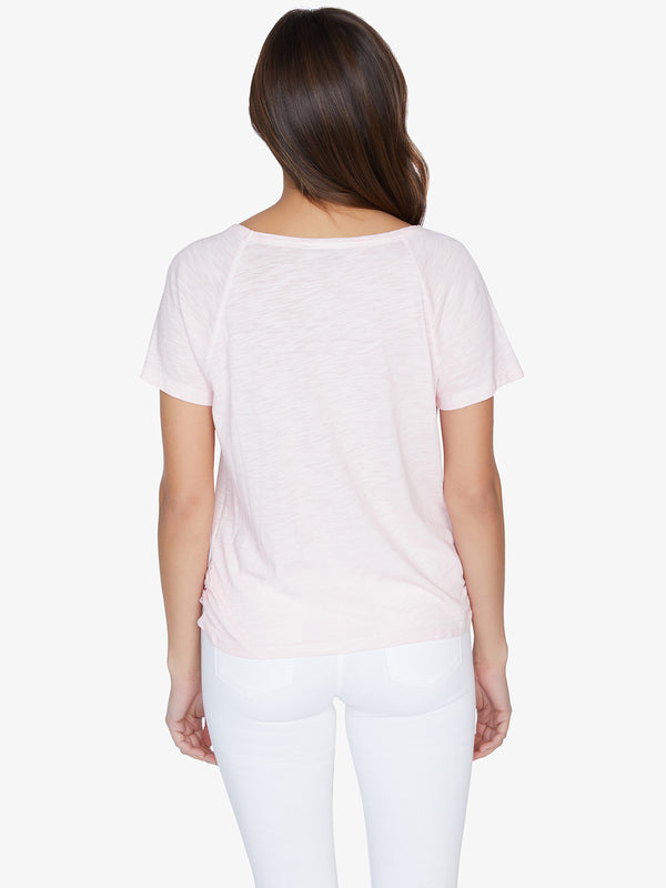Lou Ruched Tie Tee Pink Air