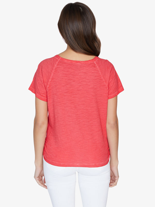 Lou Ruched Tie Tee Pomegranate
