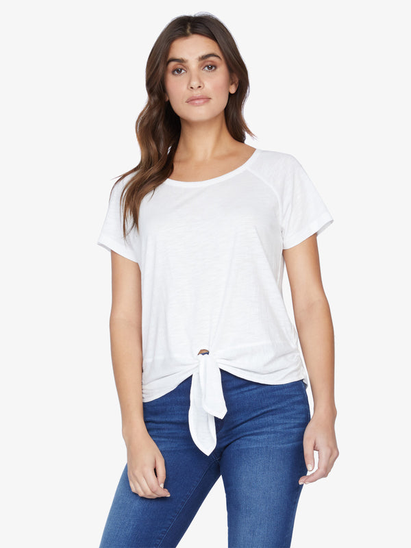 Lou Ruched Tie Tee White Jasmine
