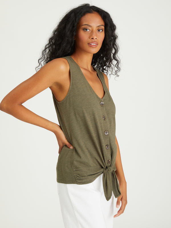 Tie To Keep Up Tee Aged Green - Knit Top