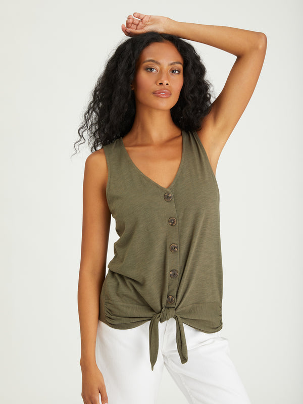Tie To Keep Up Tee Aged Green - AGED GREEN / XXS - Knit Top