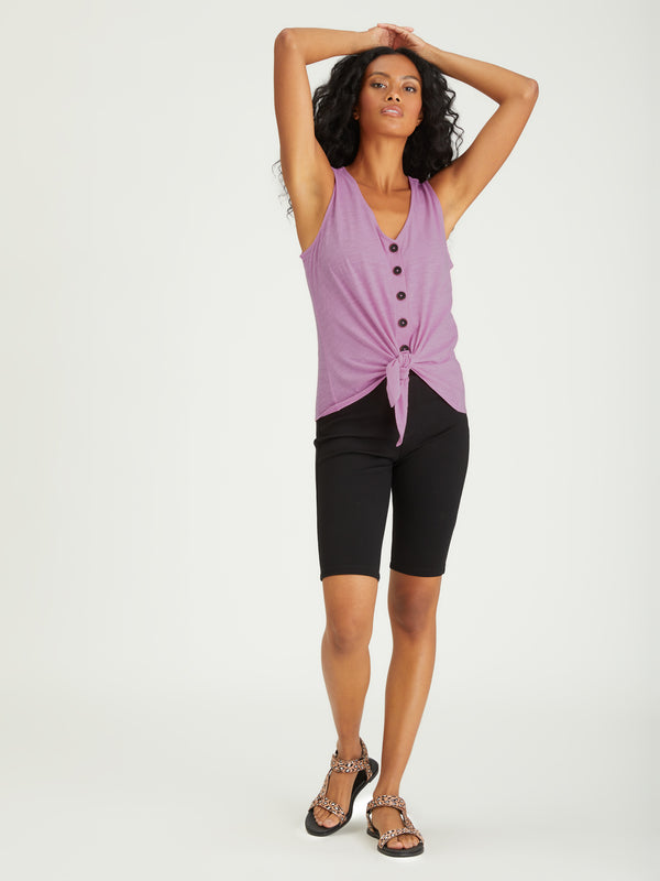 Tie To Keep Up Tee Orchid - Knit Top