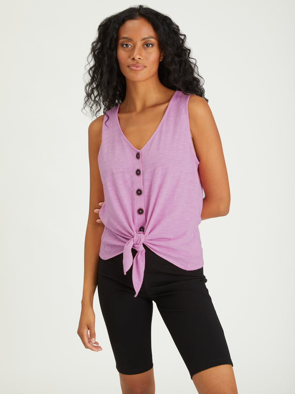 Tie To Keep Up Tee Orchid - ORCHID / XXS - Knit Top