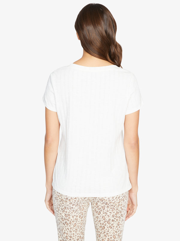 Textured Ruby Scoop Tee White