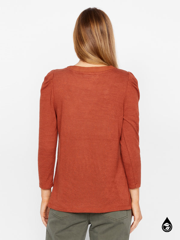 Pleated Sleeve Top Hanna Autumn Rust