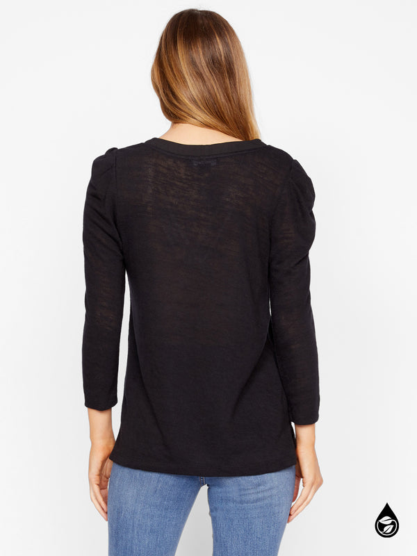 Pleated Sleeve Top Hanna Black