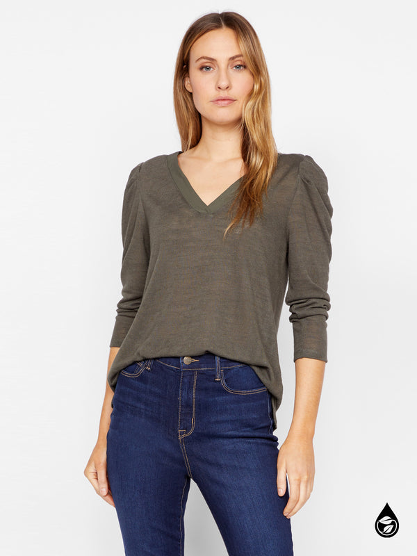 Pleated Sleeve Top Hanna Forest