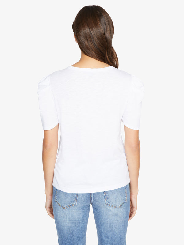 Pleated Sleeve Tee White