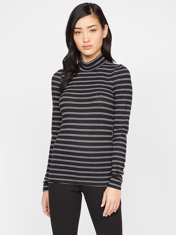 Soft Shoulder Mock Tee Black/Milk Stripe