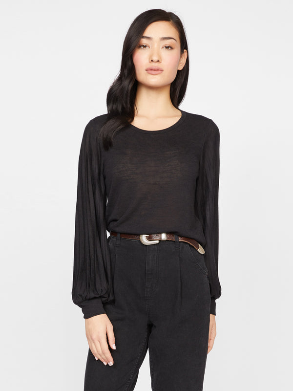 All Out Pleated Snit Tee Black