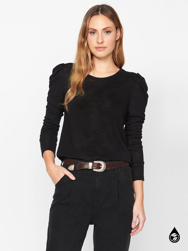 Pleated Long Sleeve Tee Black