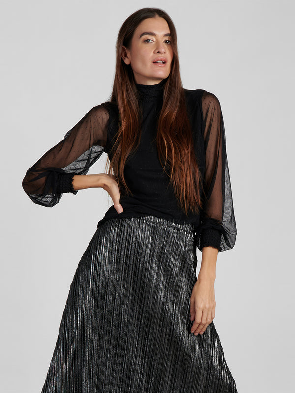 Smocked Mesh Top Black