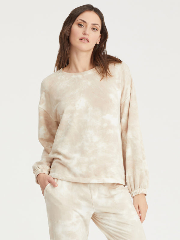 Perfect Sweatshirt Modern Beige Tie Dye