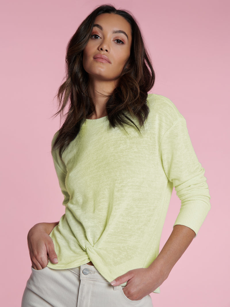 Knotted Tee Lime Cream - Liime Cream / XXS - Knit Top