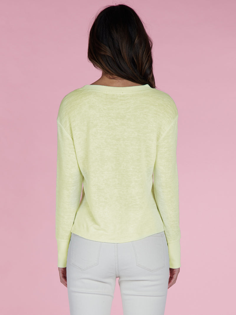 Knotted Tee Lime Cream - Knit Top