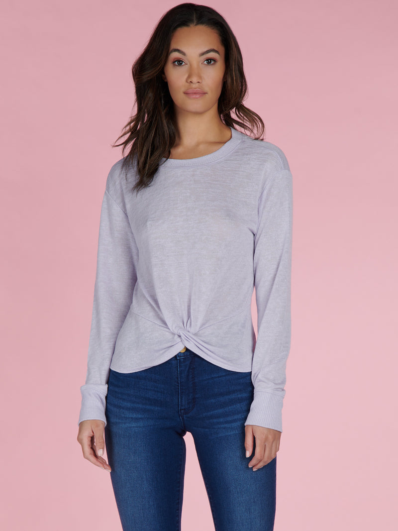 Knotted Tee Purple Heather - Knit Top
