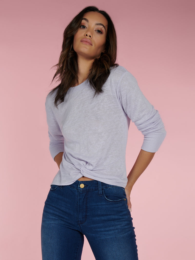 Knotted Tee Purple Heather - Purple Heather / XXS - Knit Top