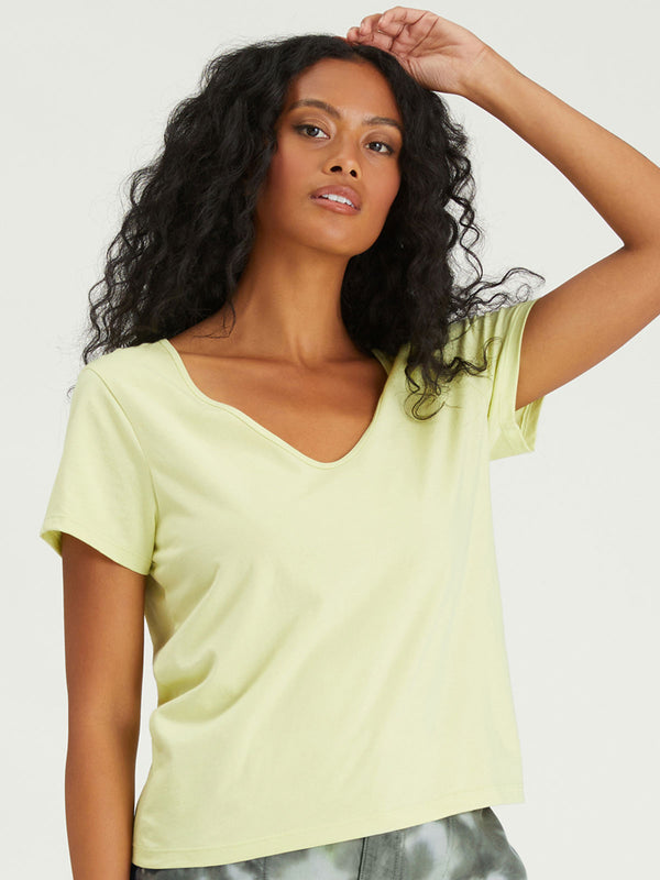 Soft V-Neck Tee Frozen Lime - FROZEN LIME / XXS - Knit Top