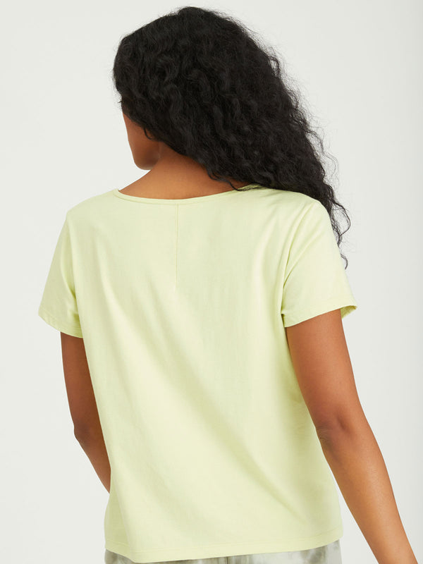 Soft V-Neck Tee Frozen Lime - Knit Top