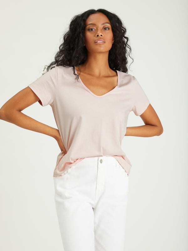 Soft V-Neck Tee Lotus - Knit Top