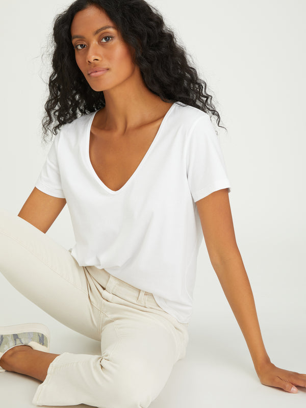 Soft V-Neck Tee White - Knit Top