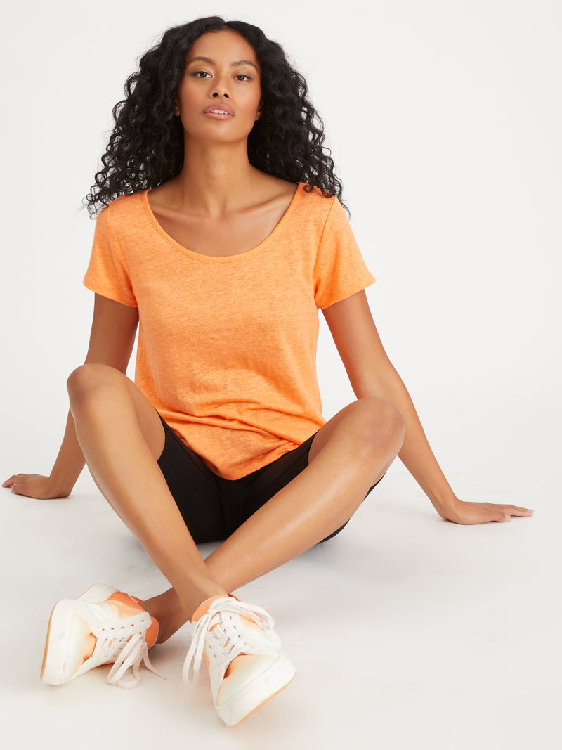 Sunny Scoop Neck Tee Nectarine - Knit Top