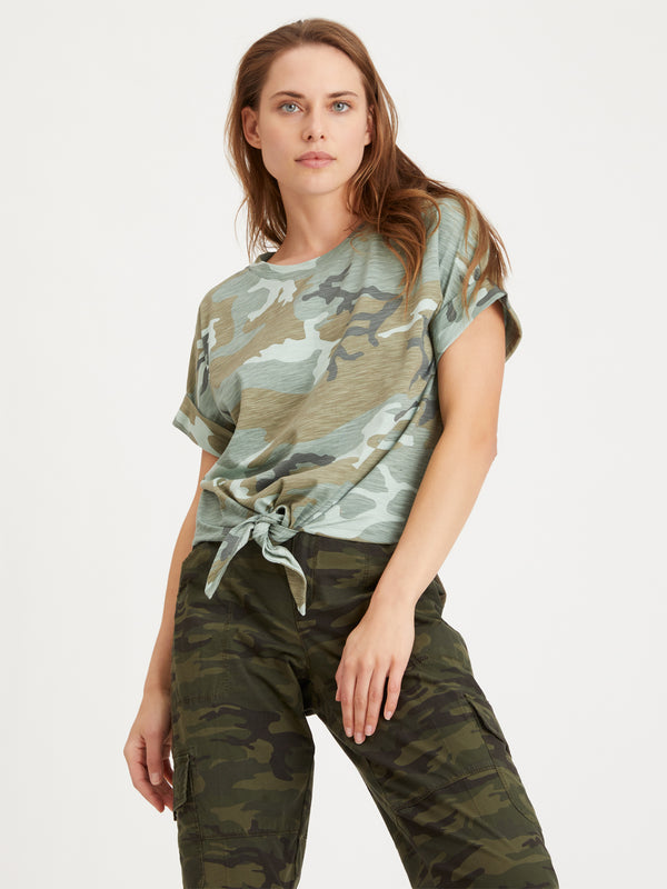 All Day Tie Tee Desert Sage Camo - Knit Top