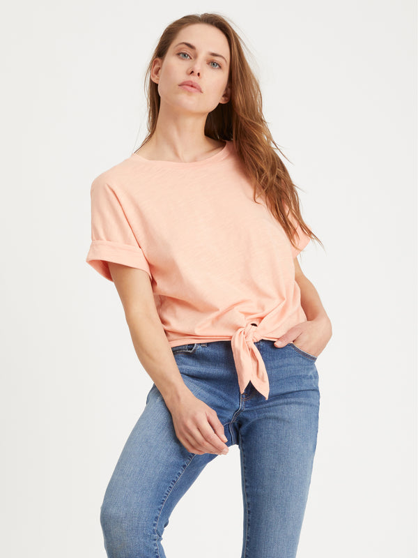 All Day Tie Tee Orange Sherbert - Knit Top