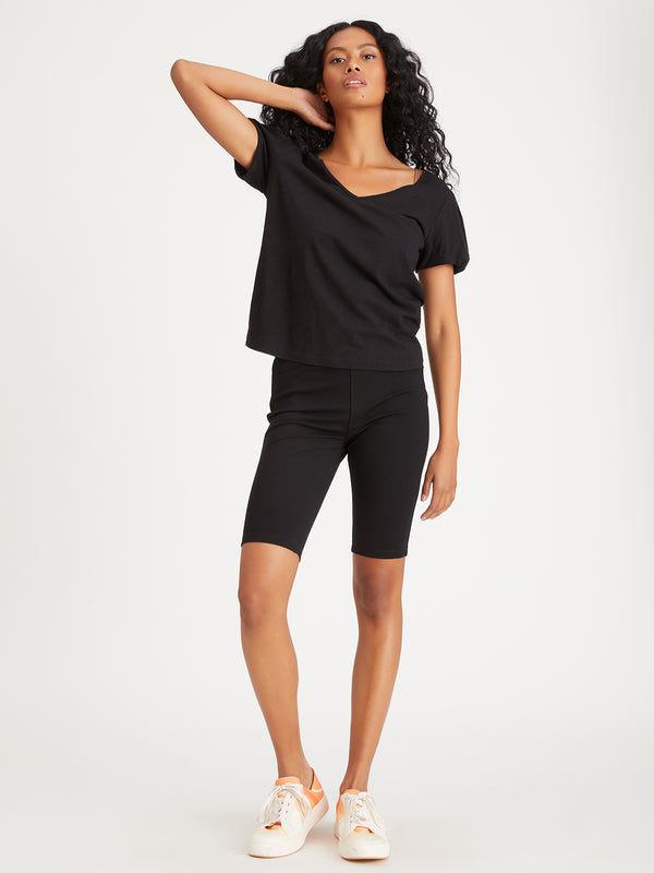 Bubble Sleeve Tee Black