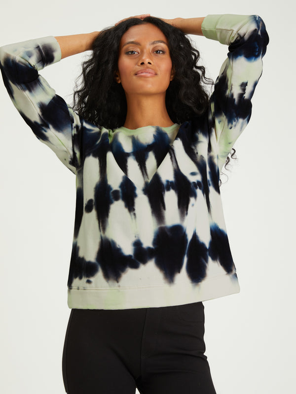 Happy Days Sweatshirt Lime Black Tie Dye