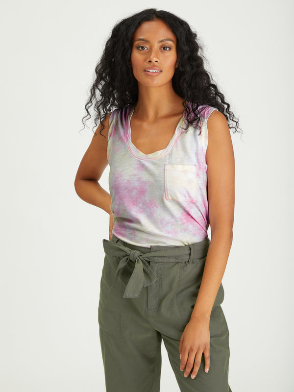 One Pocket Tank Lavender / Lime Airbrush - Knit Top