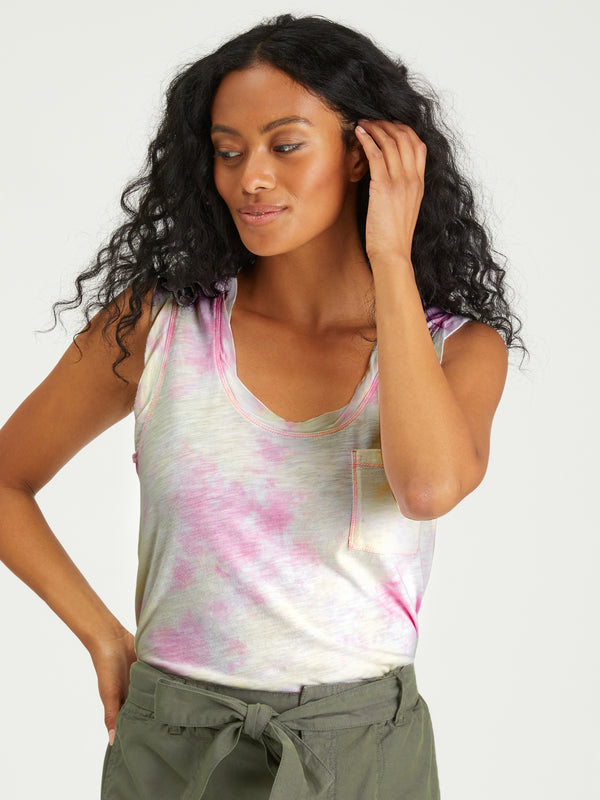 One Pocket Tank Lavender / Lime Airbrush