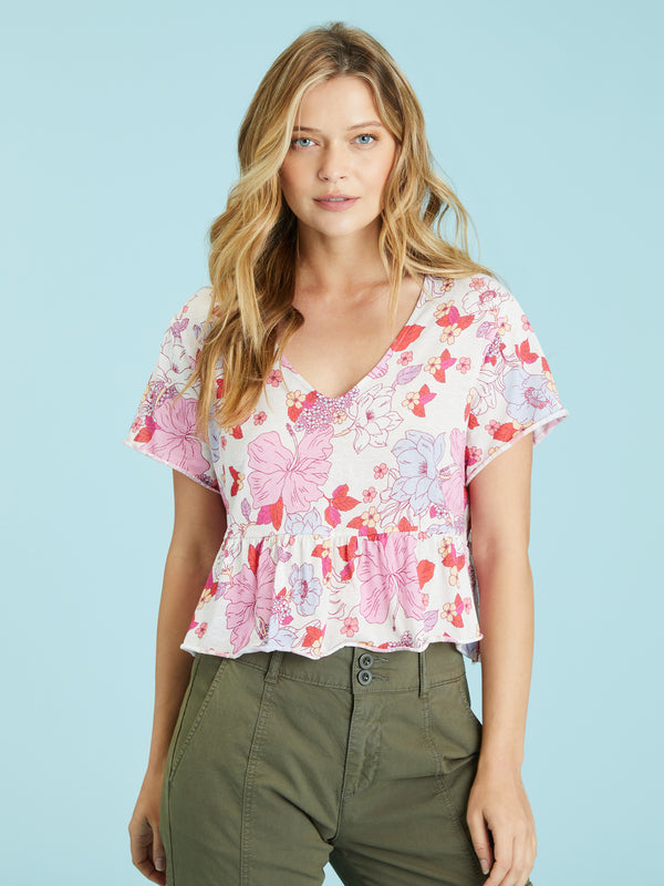 Soft V Babydoll Tee Hibiscus Floral