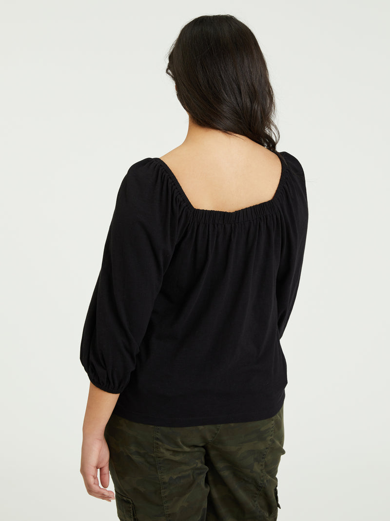 Cassia Square Tee Black Inclusive Collection - Knit Top