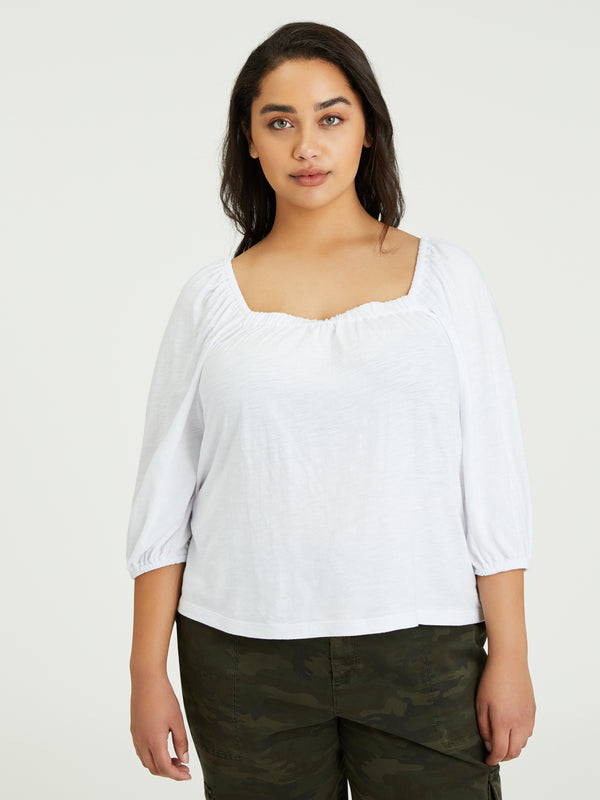Cassia Square Tee White Inclusive Collection - Knit Top