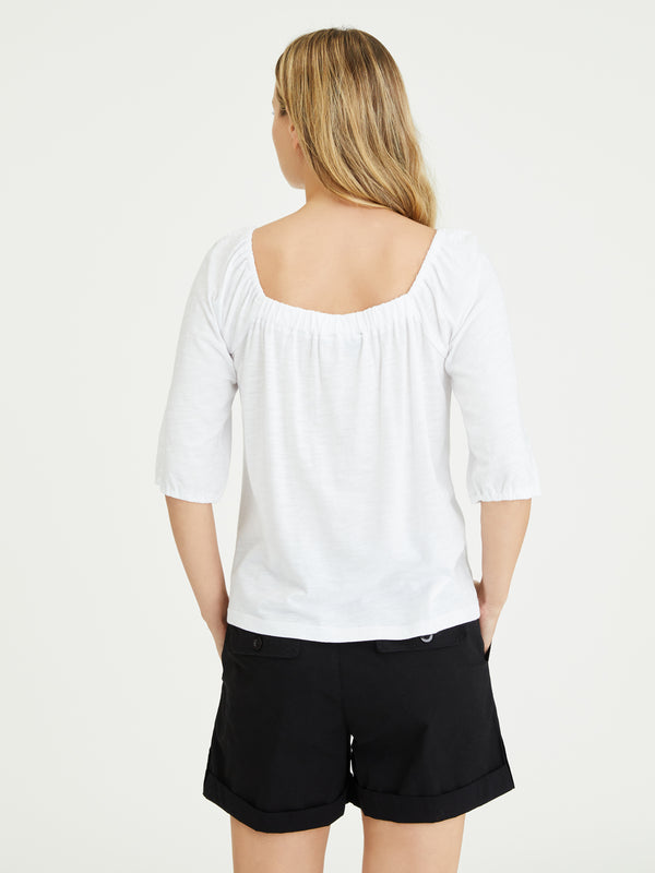 Cassia Square Tee White - Knit Top