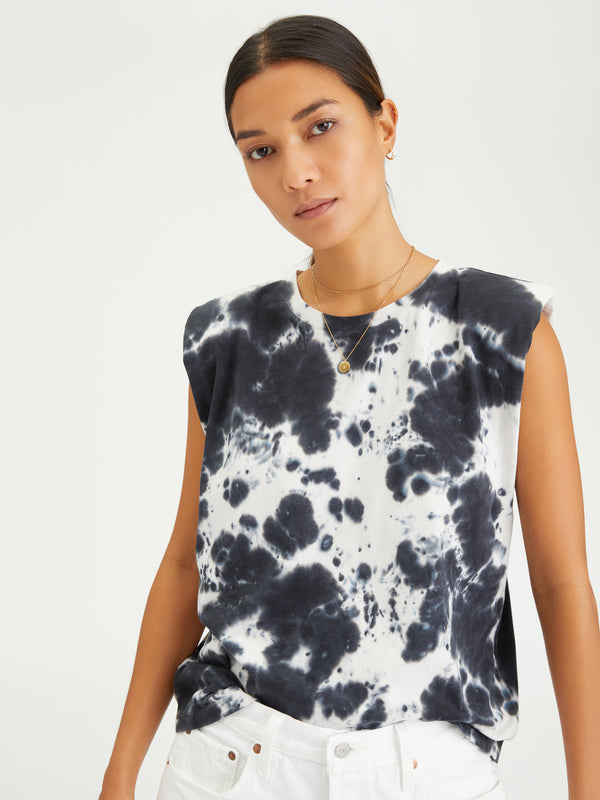 Shoulder Pad Tee Black Sand Tie Dye