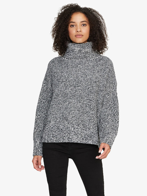 The Roll Neck Sweater Heather Black