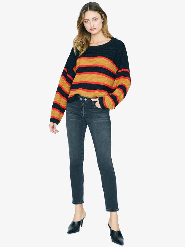 Ezra Striped Sweater Black Amber Stripe