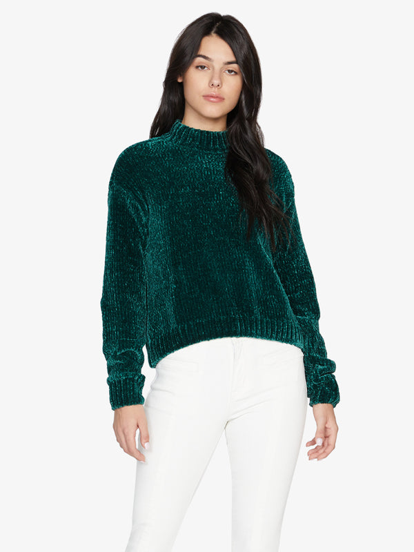 Chenille Mock Neck Sweater Dark Emerald