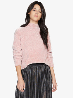 Chenille Mock Neck Sweater Rose Quartz