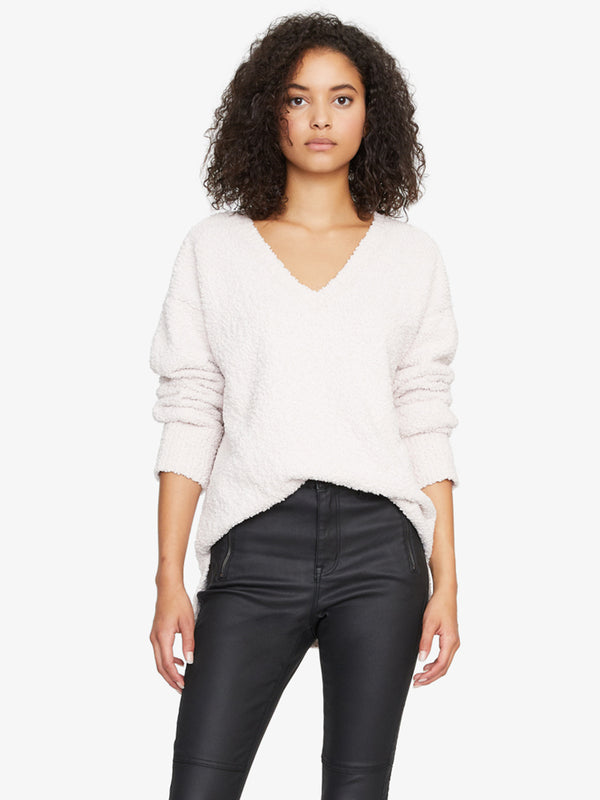 V-Neck Teddy Sweater Light Pearl