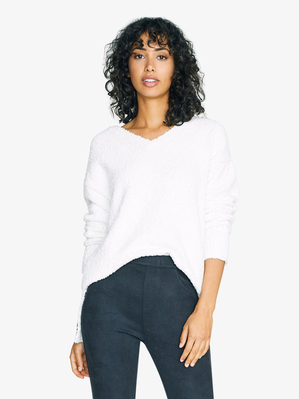 V-Neck Teddy Sweater Opal
