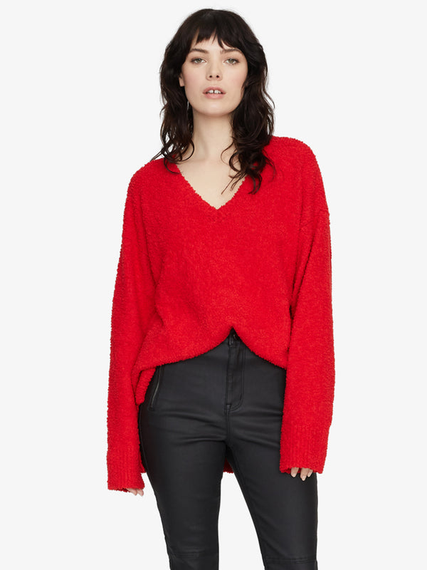 V-Neck Teddy Sweater Party Red
