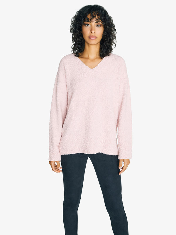 V-Neck Teddy Sweater Rose Quartz