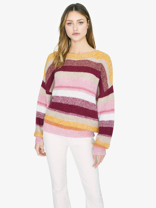 Blur The Lines Striped Sweater Garnet Stripe