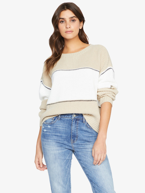 Billie Colorblock Sweater Modern Beige White Black Stripe