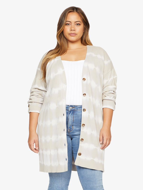 Tie Dye Cardi Modern Beige White Tie Dye Stripe  Inclusive Collection