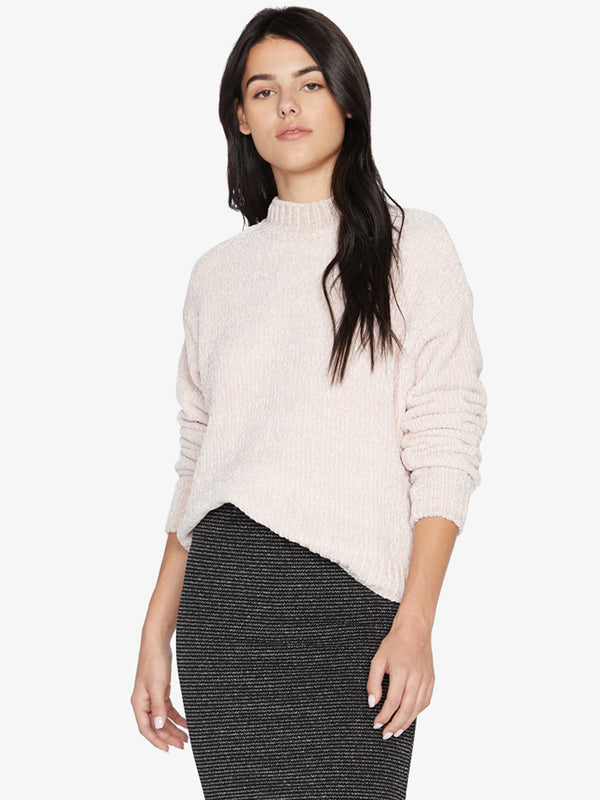 Chenille Mock Neck Sweater Light Pearl