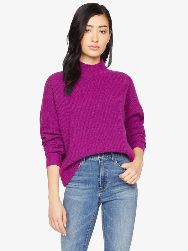 Fuzzy Mock Sweater Magenta